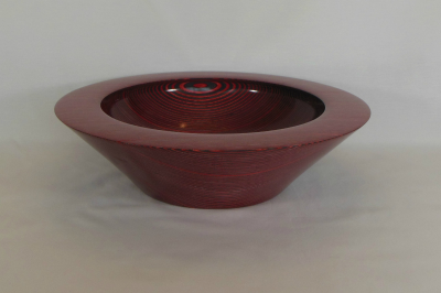 "#267       Laminated Birch Bowl Red       14.5"" wide by 4"" high       $250.00"
