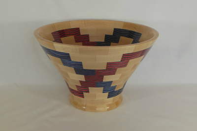 "#292       Segmented Birch and Maple Bowl       13.25"" wide by 8.25"" high      $225.00"