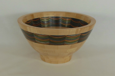 """#294       Segmented Birch and Maple Bowl       9"""" wide by 4.75"""" high       $165.00"""