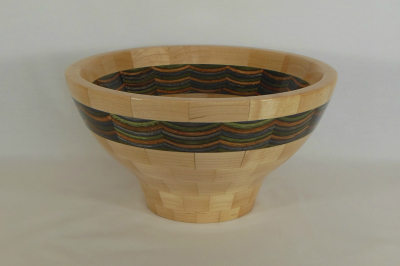 "#315      Segmented Birch and Maple Bowl       10.25"" wide by 6.5"" high       $225.00"