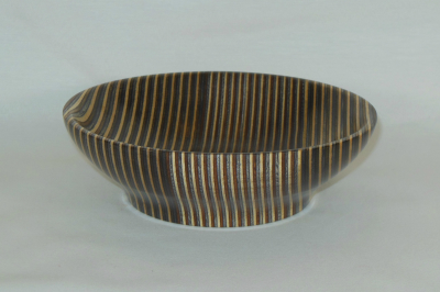 "#368       Laminated Birch Bowl Lt Brown       6"" wide by 2"" high       $40.00"