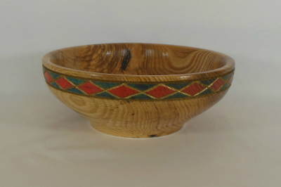 """#370      Hackberry Bowl with Carved Rim       9.5"""" wide by 3"""" high       $140.00"""