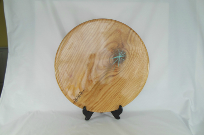 """121       Oak Platter with Turquoise inlay       18.5"""" wide by 1.25"""" high       $290.00"""