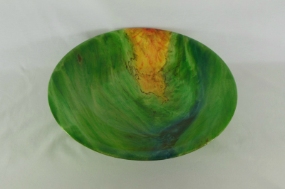 """#416       Ambrosia Maple Bowl Dyed Green       13"""" wide by 3"""" high       $130.00"""