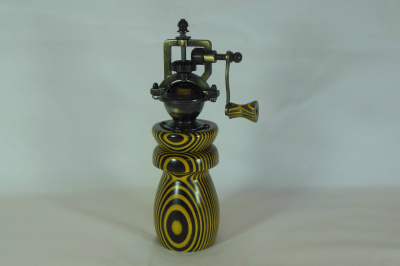 """#453      Laminated Birch Pepper Mill Yellow       2.5"""" wide by 8"""" high       $60.00"""