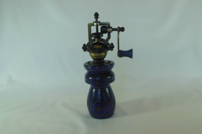 """#487       Laminated Birch Pepper Mill Blue       2.5"""" wide by 8"""" high       $60.00"""
