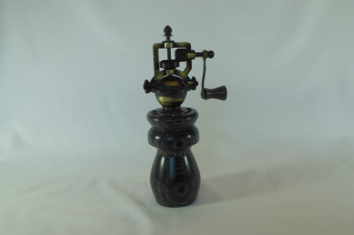 """#500       Laminated Birch Pepper Mill Black       2.5"""" wide by 8"""" high       $60.00"""