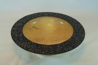 """#539       Basswood Bowl with Carved Rim       12.25"""" wide by 3"""" high       $120.00"""
