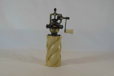"""#519       Holly Pepper Mill with Spiral       2.5"""" wide by 8"""" high       $60.00"""
