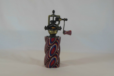 """#520       Laminated Birch Pepper Mill Red White & Blue with Spiral      2.5"""" wide by 8"""" high       $60.00"""