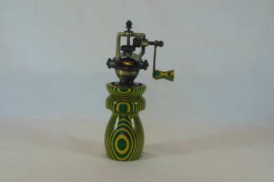 """#523       Laminated Birch Pepper Mill Green & Yellow       2.5"""" wide by 8"""" high       $60.00"""