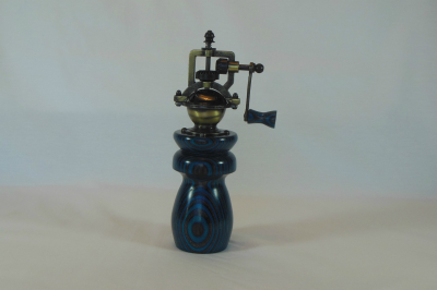 """#527       Laminated Birch Pepper Mill Turquoise & Gray       2.5"""" wide by 8"""" high       $60.00"""