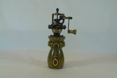 """#530       Laminated Birch Pepper Mill Yellow & Black       2.5"""" wide by 8"""" high       $60.00"""