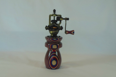 """#534       Laminated Birch Pepper Mill Red White & Blue       2.5"""" wide by 8"""" high       $60.00"""