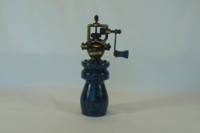 """#536       Laminated Pepper Mill Turquoise & Gray       2.5"""" wide by 8"""" high       $60.00"""