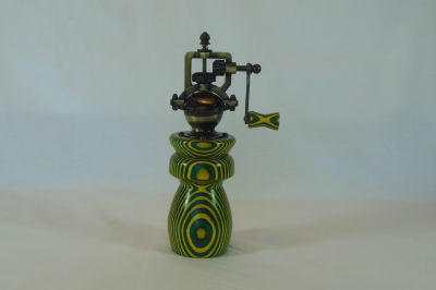 """#537       Laminated Birch Pepper Mill Green & Yellow       2.5"""" wide by 8"""" high       $60.00"""