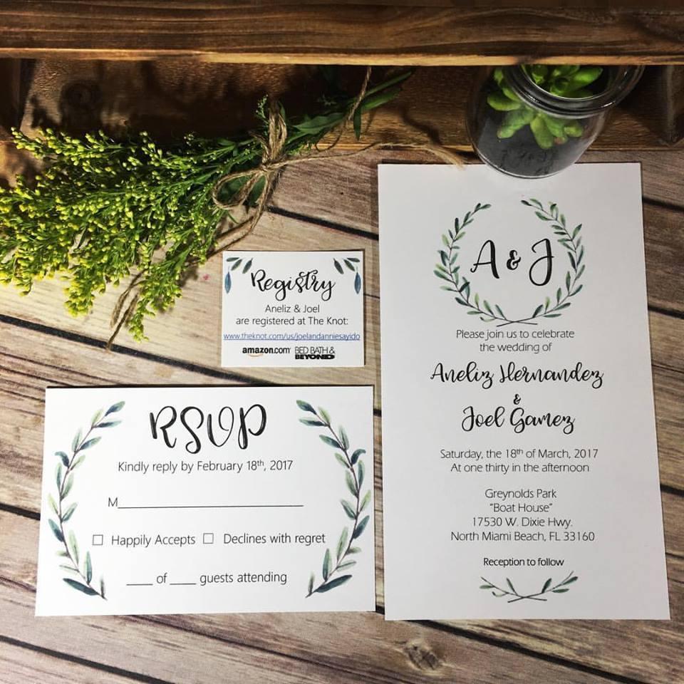Simple Wreath Invites