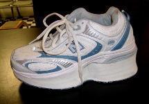 White and Blue Woman's Shoe Lift, Shoe Elevation/Shoe Modification