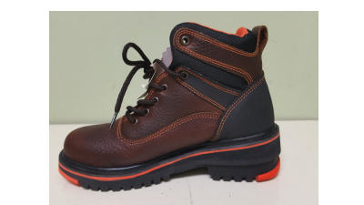 Orange and Brown Boot with Shoe Lift for a Leg Length Discrepancy
