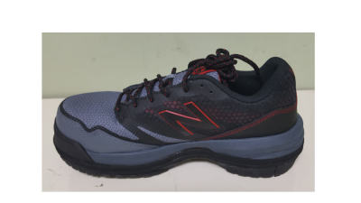 Red and Gray Walking Shoe with Shoe Lift for a Leg Length Discrepancy