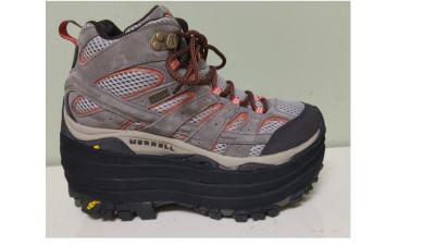 Gray Walking Shoe with Shoe Lift for a Leg Length Discrepancy
