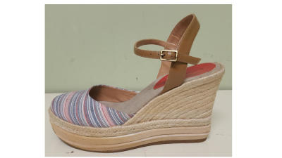 Cream Wedge Shoe with Shoe Lift for a Leg Length Discrepancy