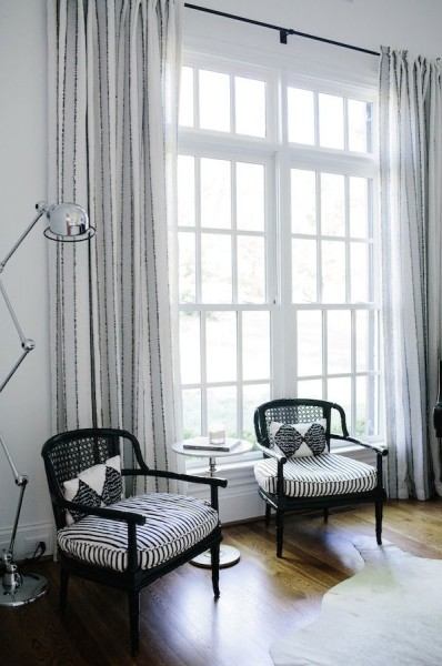 West Meade,  Designers Guild Fabric, Designers Guild Piano Keys, Black and white draperies, black and white curtains, Select Drapery Rods, Decorator Rods, Designs by Melinda, Nashville tn, French Returns