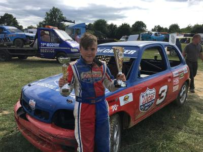 Double trophies at Smallfield Raceway for Carter