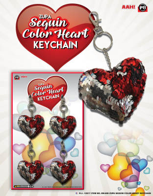 Zupa Sequin Color Heart Keychain