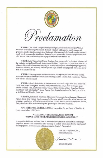 Proclamation by Mayor Kirk Caldwell