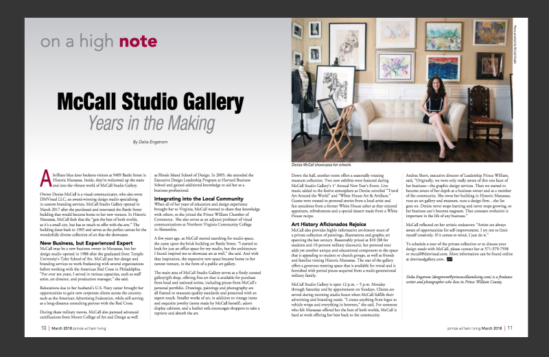 McCall Studio Gallery Featured in Prince William Living Magazine!