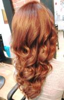 woman recieving haircut