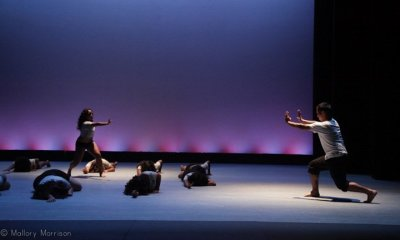 Dance Is Life, Dance, performing, performance, perform, stage, dancers, dancer, duet, performers, modern, ballet, plie, across the floor, grey, purple, black, shorts