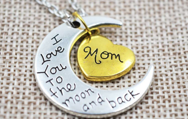 """I Love You To The Moon & Back"" Pendant Necklace"