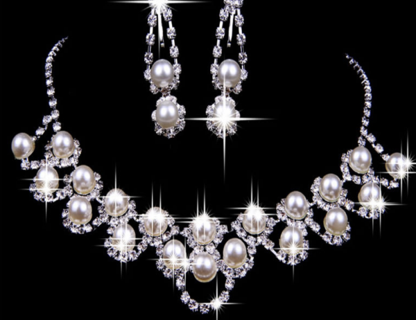 Prom Bridal Pearl Necklace Set