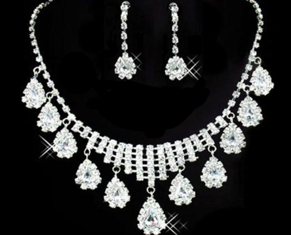 Prom Rhinestone Necklace Set