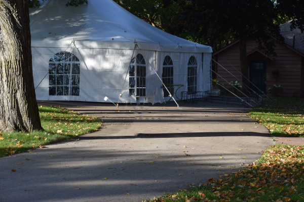 Example of a tent set up at the top of the hill by the main house