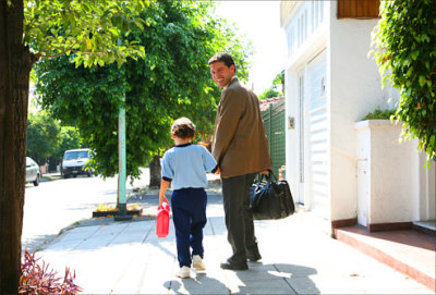father leaving for work with son