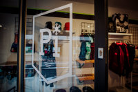Powder Institute, ski shop window, reflecting the inside of the store