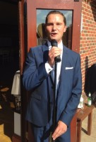 Andy Moore singing outside Westerham Golf Club Kent for wedding reception