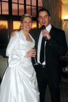 Andy Moore with bride in Westerham Golf Club, Kent