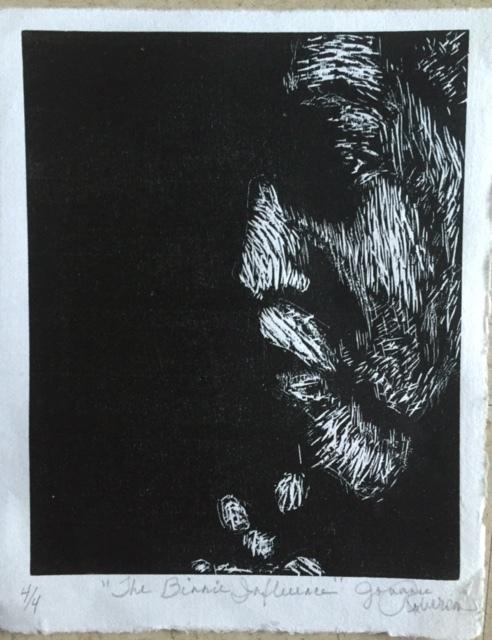 "Jouanne Roberson, ""The Binnie Influence"". Woodblock print on Kozo paper , modern art, art"