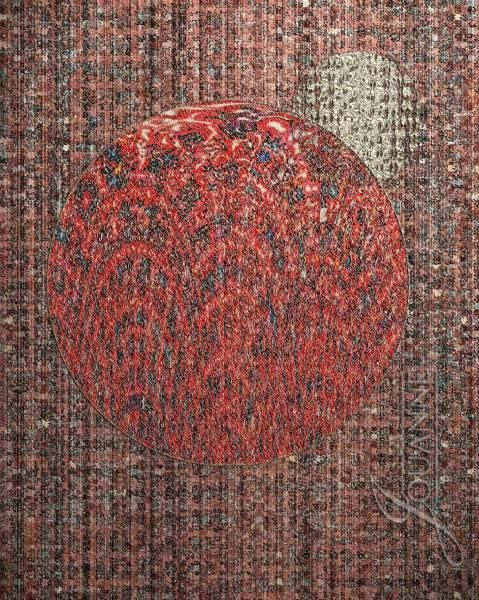 "Jouanne Roberson, ""Red, Blue, and Gold,"" Print on Echizen Washi Paper, modern art, art, digital manipulation, algorithmic art"