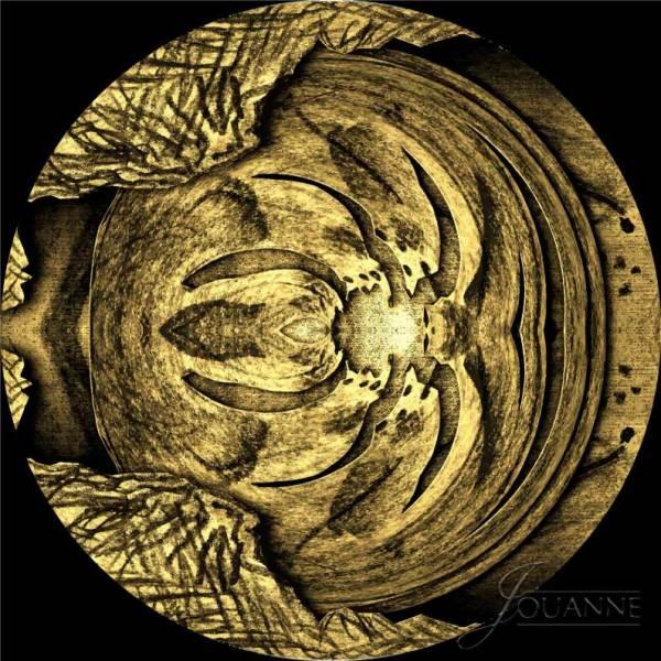 "Jouanne Roberson, ""Species II the Golden Sphere Cruising Through Time "". Brass Etched Plaque, modern art, art, digital manipulation"