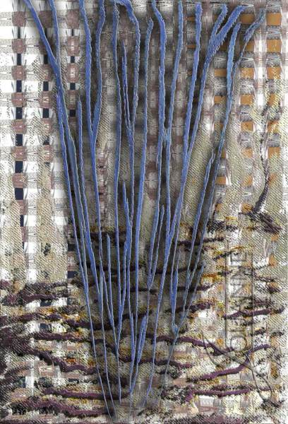 "Jouanne Roberson, ""Earthen Blue,"" Print on Unryu/Mulberry Paper, modern art, art, digital manipulation, algorithmic art"