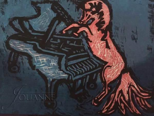 "Jouanne Roberson, "" Whinny Up"". woodblock print on Kozo paper, modern art, art"