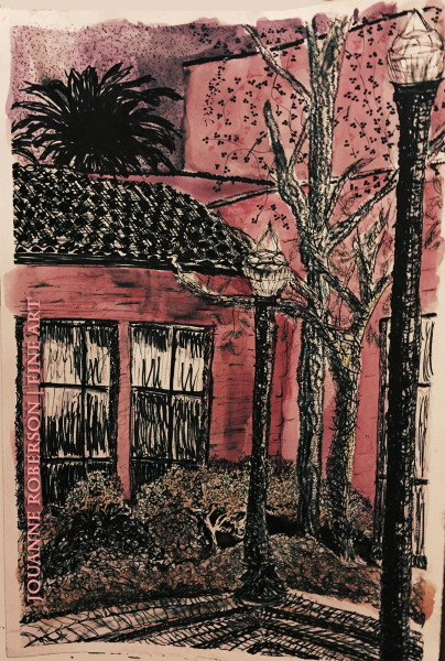 "Jouanne Roberson, ""Nightlights on the Grotto"". Sharpie and Acrylic on Stonehenge, modern art, art"