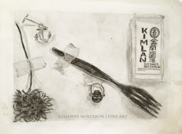 "Jouanne Roberson, "" Odds & Ends"". Ink Wash on Bristol, modern art, art"