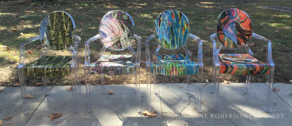"""Jouanne Roberson, """"Viridian-Inlay, Fall Leaves, A Splash of Fall, and Cacti"""" --The classic Louis XVI Ghost Chairs, accent chairs, art chairs, functional art, modern art, art"""