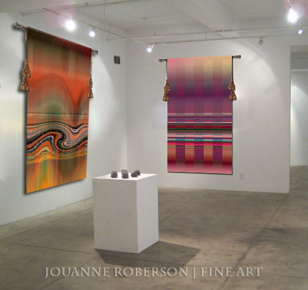 Jouanne Roberson, Iridescent Terracotta and Refractive Lattice, Jacquard Tapestry, modern art, art